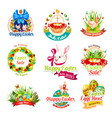 easter sale and egg hunt celebration cartoon icons vector image vector image