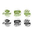 eco logo or label set healthy natural organic vector image vector image