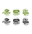 eco logo or label set of healthy natural organic vector image vector image