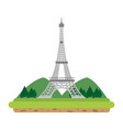 eiffel tower with mountainsand trees landscape vector image vector image
