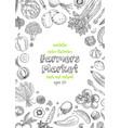 farmers market menu design template vegetarian vector image vector image
