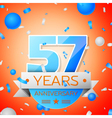 Fifty seven years anniversary celebration on vector image vector image