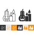halloween pumpkin simple line candle icon vector image vector image