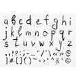 Hand written charcoal lowercase alphabet vector image