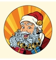 Joyful Santa Claus with gifts vector image vector image