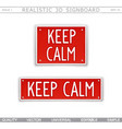 keep calm 3d signboard in style car license plate vector image