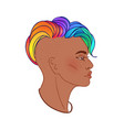 lgbt person with rainbow hair non binary african vector image