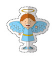 little boy angel character vector image vector image
