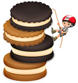 Little boy climbing up stack of cookies vector image vector image