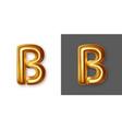 metallic gold alphabet letter symbol - b vector image