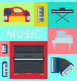 music keyboard instrument playing synthesizer vector image