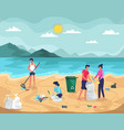 people collecting garbage on ocean beach vector image