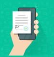 person signed mobile digital agreement form online vector image