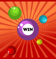 retro sign with lotto balls win banner vector image vector image