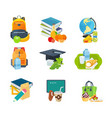 school lunches with backpacks books stationery vector image