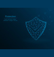 security shield protection polygon icon on blue vector image vector image