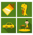 set o kinds icons of toys baby bottle little vector image