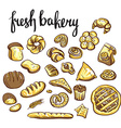 Set of bakery icons Bread cookies cake pie vector image vector image