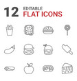 snack icons vector image vector image