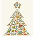 Social media networks Christmas tree vector image