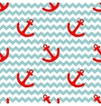 Tile sailor pattern with red anchor on white vector image
