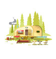 trailer for travel in forest vector image vector image
