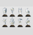 transparent trophies realistic crystal glass vector image