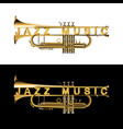 trumpet in a cut with an inscription jazz music vector image vector image