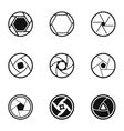 Types of aperture icons set simple style vector image vector image
