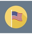 USA Flag on Flagstaff Flat Icon vector image vector image
