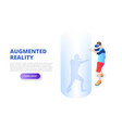 virtual reality design concept with man playing vector image vector image