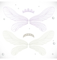 White and violet fairy wings with tiara bundled vector image vector image
