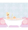 Woman bathing in bathtub in beautiful bathroom vector image vector image