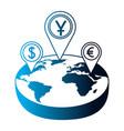 world isometric pointer location dollar yen euro vector image