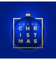 Christmas Ball on Blue Background with Golden vector image
