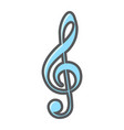 treble clef filled outline icon music vector image