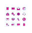 16 color thin line icons contact line icons vector image vector image