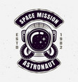 astronaut space mission isolated emblem vector image vector image