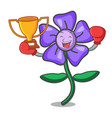 boxing winner periwinkle flower mascot cartoon vector image