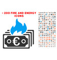 burn euro banknotes icon with bonus flame clipart vector image vector image