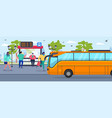 bus stop waiting people passenger vector image vector image