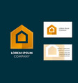 business card template with yellow geometric logo vector image