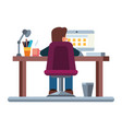 business man at his desk is working on laptop vector image