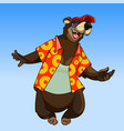 cartoon character happy bear in summer clothes vector image vector image