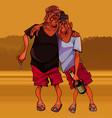 cartoon funny two men are walking drunk vector image vector image