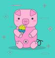 cartoon pink pigs eat ice cream vector image