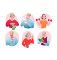 cartoon round avatars active old character vector image vector image