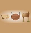 cartoon wooden arrow and signboards vector image vector image
