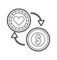coins money with casino chip vector image