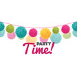 colorful happy birthday party time text pom vector image